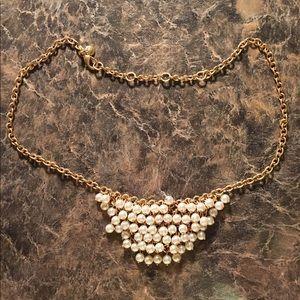 J.Crew embellished bib pearl necklace