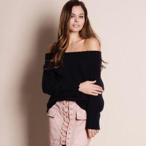 Off Shoulder Black Sweater Top