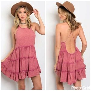 GlamVault Dresses & Skirts - New!! Dusty Rose Chambray Tiered Open Back Dress