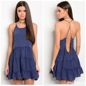 GlamVault Dresses & Skirts - Dusty Blue Chambray Tiered Open Back Dress
