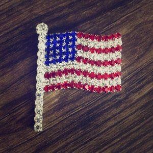 5 for $25 Sale ! American Flag Rhinestone Brooch