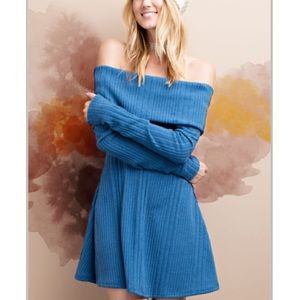 Off the shoulders rubbed tunic dress  top shirt