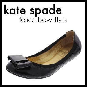kate spade Shoes - kate spade // leather bow ballet flats • black