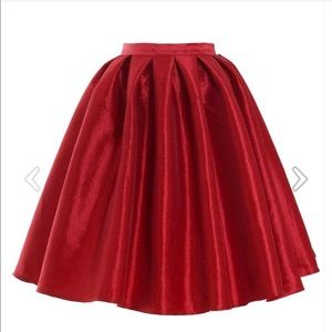Chicwish red a line midi skirt