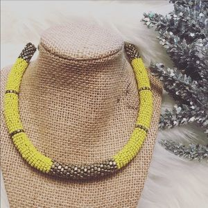 Yellow & gold beaded statement necklace