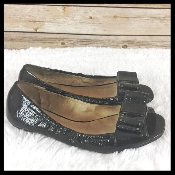 70fe198941b2 kate spade Shoes - kate spade    peep toe bow black patent flats