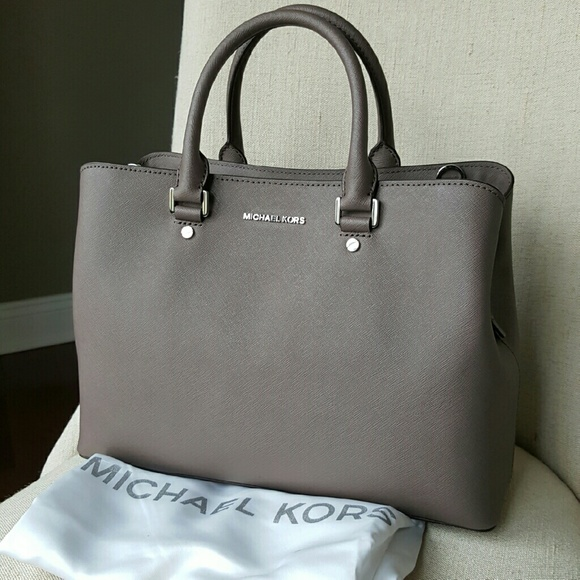 7ac5b74931f9 Michael Kors Savannah satchel cinder grey bag LG