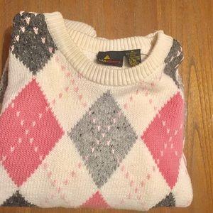 Liz Claiborne vintage sweater pink argyle