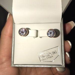 Rose Gold Clear Diamond Earrings