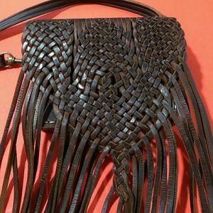 Vintage Leather Fringe Crossbody Bag