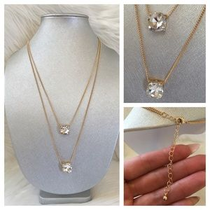 "Hype Jewelry - Gold crystal double chain necklace 26"" pendant"