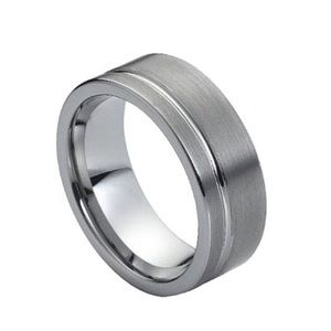 Other - Tungsten ring with single silver stripe