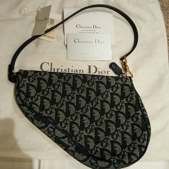 dba779192e7e Dior Handbags - Dior Vintage small saddle bag in navy blue denim