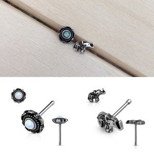 Jewelry - Opal Flower & Elephant Nose Studs