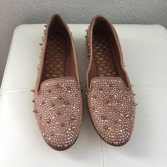 7e08ac7d2 New satin rose gold studs spikes crystals loafers