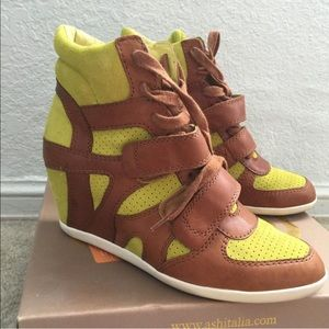 Ash Shoes - Green brown wedge sneakers with box