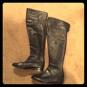 Via Spiga Black Leather Over the Knee Boots