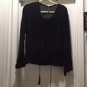 Indah Tops - INDAH black lace front bell sleeve blouse