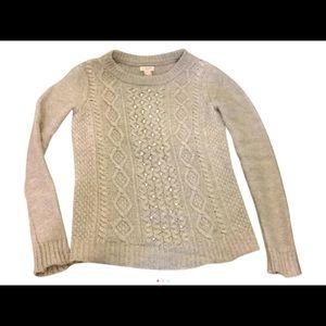 J. Crew Sweaters - Embellished Rhinestone J Crew Gray Sweater