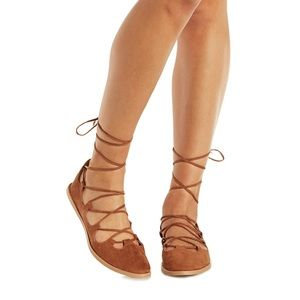 SavedByTheShoes Shoes - Lace-Up Ballerina Crisscross Gladiator Flats