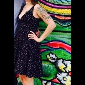 Betsey Johnson Black Floral Plunging Neck Dress