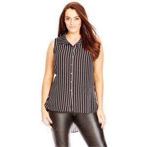 NWT City Chic Hi Lo Stripe Print Shirt