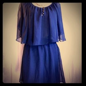 Mimi Chica Dresses & Skirts - Semi sheer layered navy blue dress