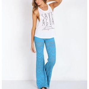 Nightcap Pants - RARE Nightcap Spanish lace bellbottoms Turquoise