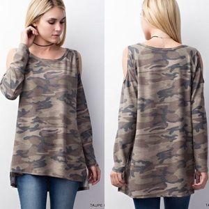Tops - Army Print Cold Shoulder Top- TAUPE