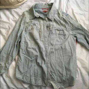 Jean Button Down Shirt Large
