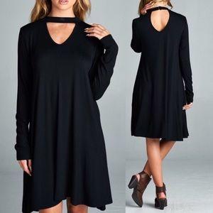 Pink Peplum Boutique Dresses & Skirts - Black rayon shift dress with pockets