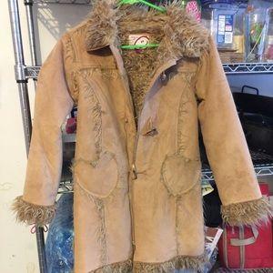 Winter faux fur kids coat
