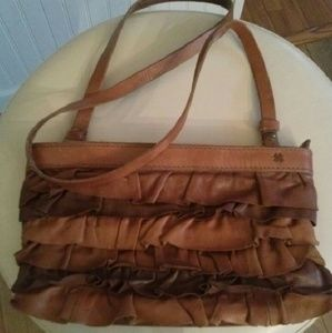 Lucky Brand ruffle crossbody all leather bag