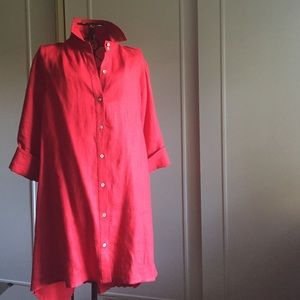 Comfy USA Tops - COMFY BRAND TRUE RED LINEN TOP PLEATED IN BACK