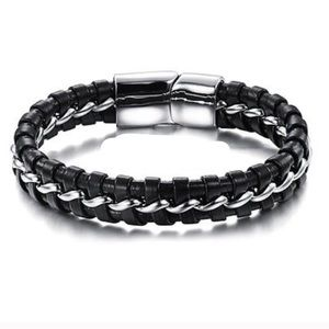 Other - Men's Stainless Steel Leather Bracelet