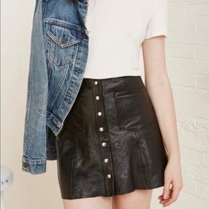 Leather Reformation snap front mini skirt