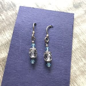 Blue and clear beaded dangle earrings