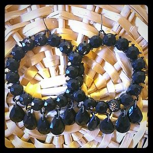 Black Swarovski Dangled Earrings