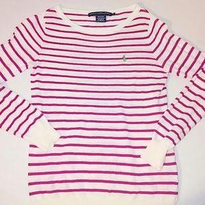 Ralph Lauren Tops - Polo Womens Small Pink Striped Long Slv Shirt