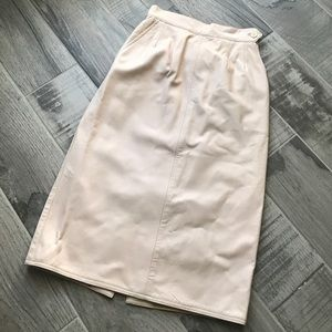 Soft pink leather skirt