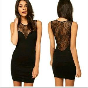 Nostalgia Dresses & Skirts - Black Dress LBD Lace Back Medium Large Sexy Club