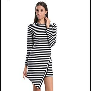 Persun Dresses & Skirts - Striped Jersey Long Sleeve Bodycon Dress