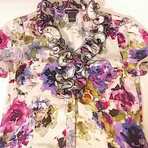 Spense Womens Medium Floral Button Shirt