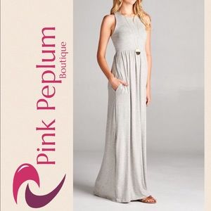 Pink Peplum Boutique Dresses & Skirts - 🆕ARRIVAL! Grey rayon racer back tank maxi dress