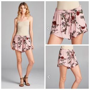 Pants - 🆕Floral Print Shorts with Side Ruffles