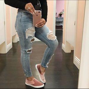 Shoes - Mauve Velvet Slips Ons