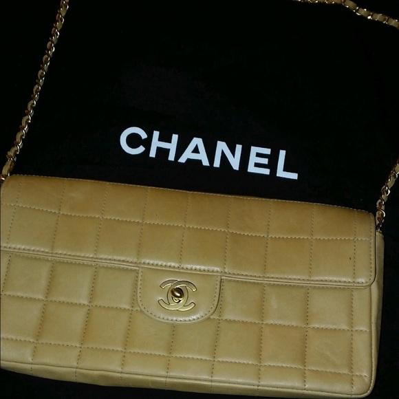6118e62ebf25 CHANEL Handbags - Chanel Lamb Skin East West Chocolate Bar Handbag
