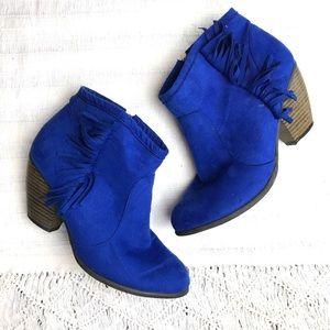 shoedazzle Shoes - Faux Suede Blue Fringe Boots