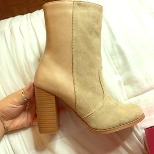 Sand leather booties