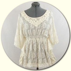Angie Tops - Angie 💕Ivory Vintage Crochet Lace Peasant Top.